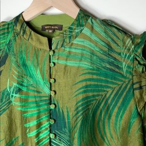 Anthropologie green silk Bineet Bahl blouse XS